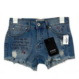 NWT Tully Graphic Distressed Jean Shorts